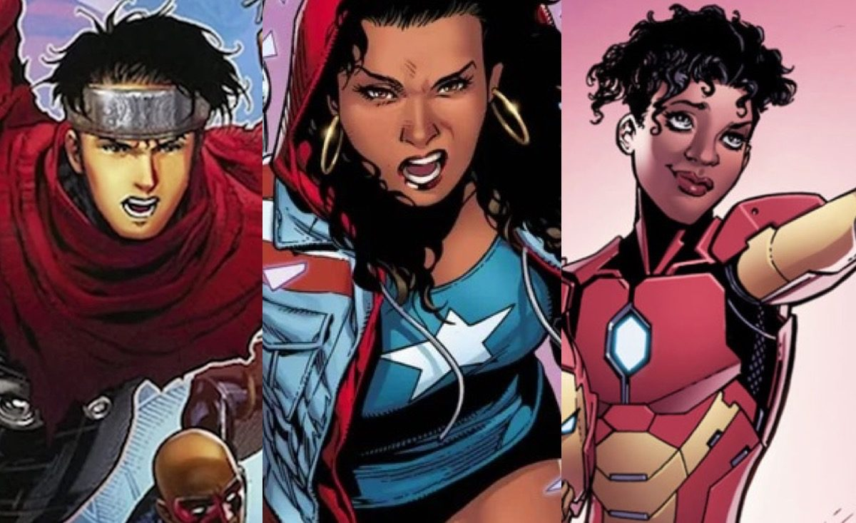 wiccan, america chavez, and riri williams in Marvel comics.
