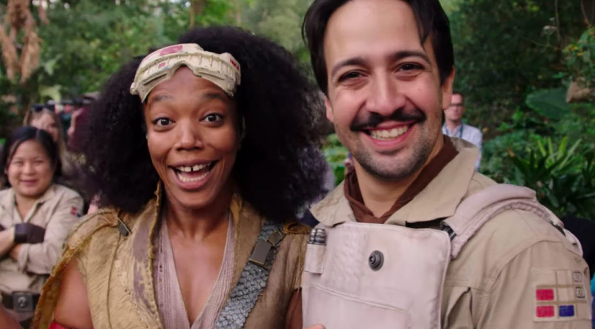 Lin-Manuel Miranda and Naomi Ackie in Star Wars