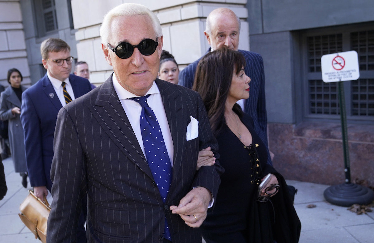Former advisor to U.S. President Donald Trump, Roger Stone, departs the E. Barrett Prettyman United States Courthouse with his wife Nydia after being found guilty of obstructing a congressional investigation