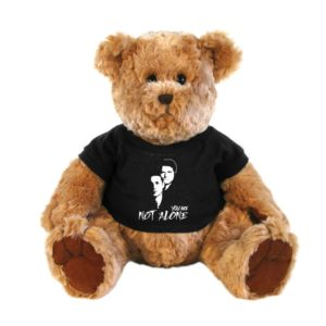 a bear in a you are not alone tee