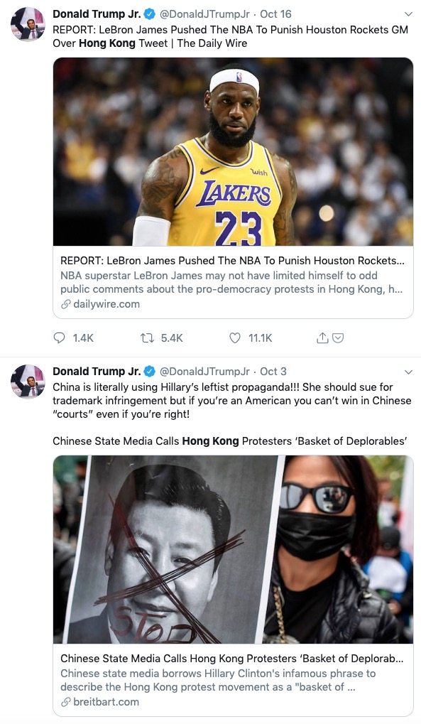 Two tweets from Donald Trump Jr. sharing articles about Hong Kong protests.