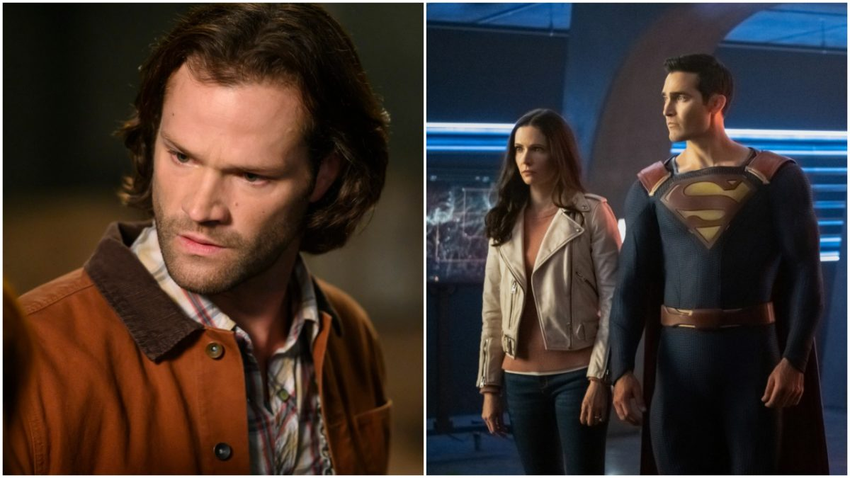 collage: jared padalecki in supernatural/Elizabeth Tulloch and Tyler Hoechlin in Superman and Lois