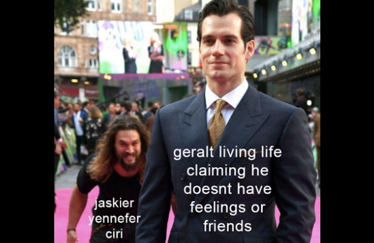 Henry Cavill and Jason Momoa meme for The Witcher