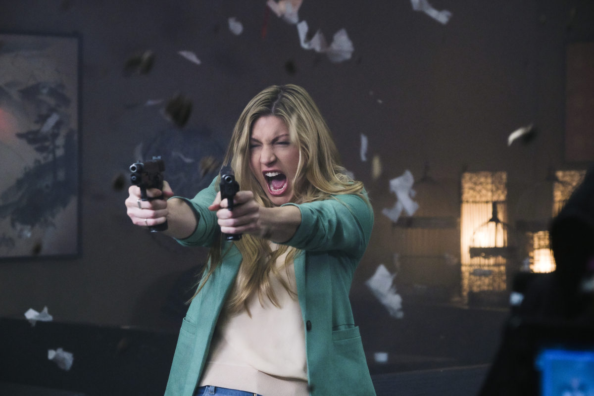 "Legends of Tomorrow -- ""Mortal Khanbat"" -- Image Number: LGN505a_0467b.jpg -- Pictured: Jes Macallan as Ava Sharpe -- Photo: Jeff Weddell/The CW -- © 2020 The CW Network, LLC. All Rights Reserved."