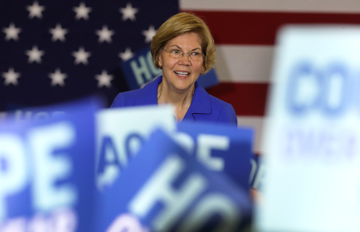 Democratic presidential candidate Sen. Elizabeth Warren (D-MA) addresses supporters during her caucus night watch party