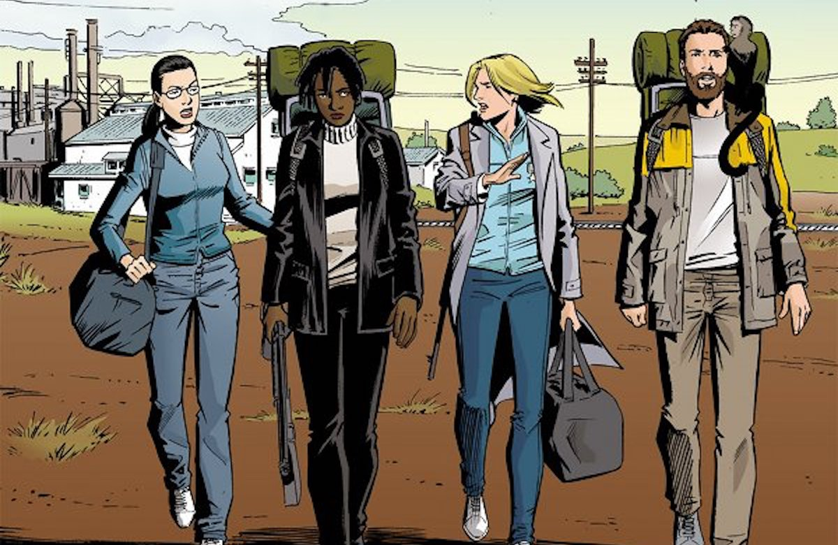 A panel from Y: The Last Man featuring four characters wearing hiking backpacks