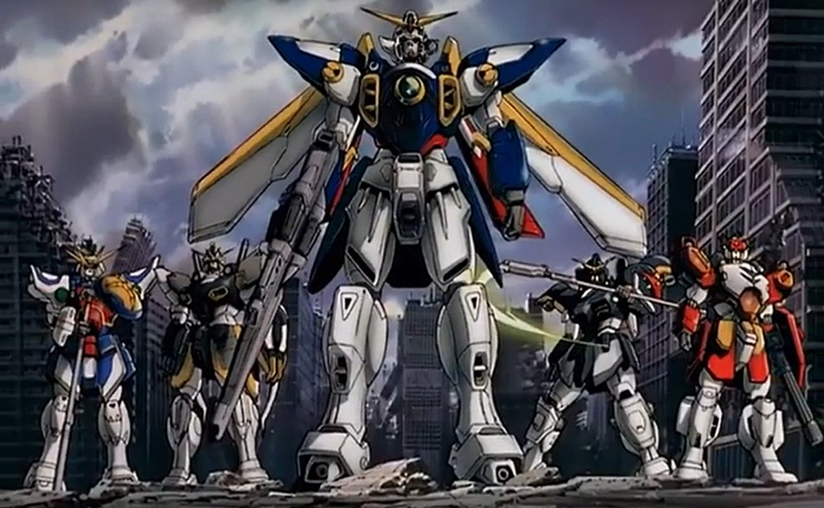 the five original gundams in the gundam wings credits