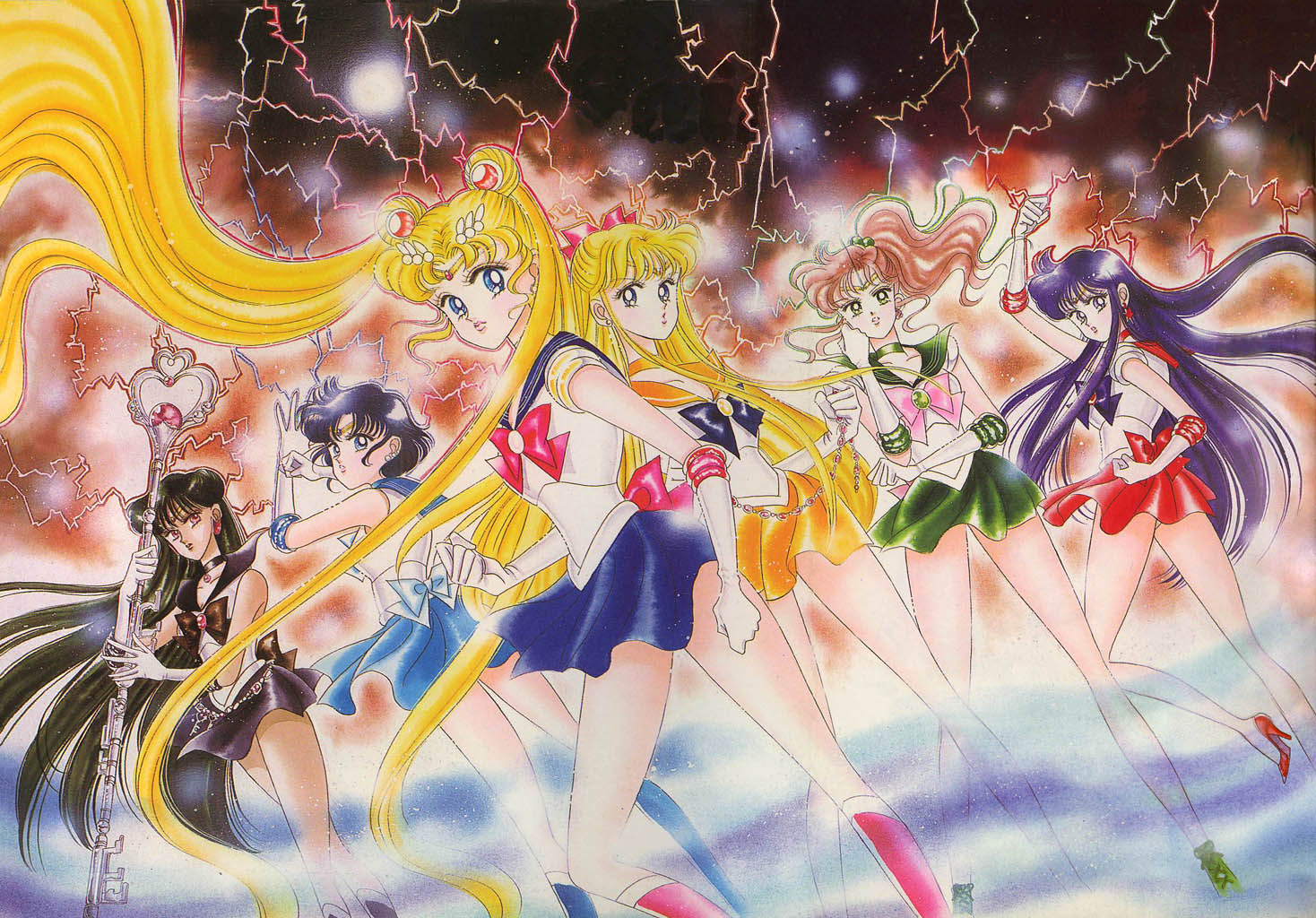 The Sailor Scouts in the manga as drawn by Naoko Takeuchi