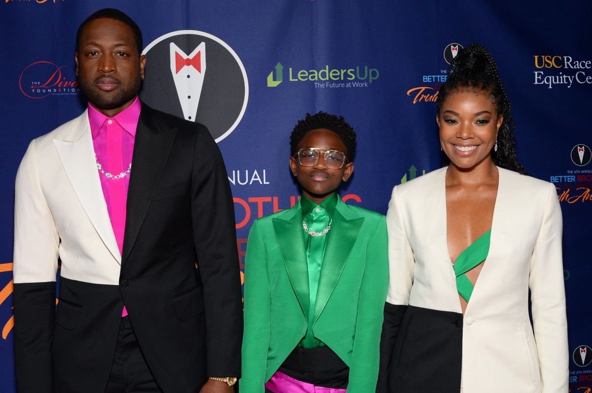 LOS ANGELES, CALIFORNIA - MARCH 07: (L-R) Dwyane Wade, Zaya Wade and Gabrielle Union attend the Better Brothers Los Angeles 6th annual Truth Awards at Taglyan Complex on March 07, 2020 in Los Angeles, California. (Photo by Andrew Toth/Getty Images)