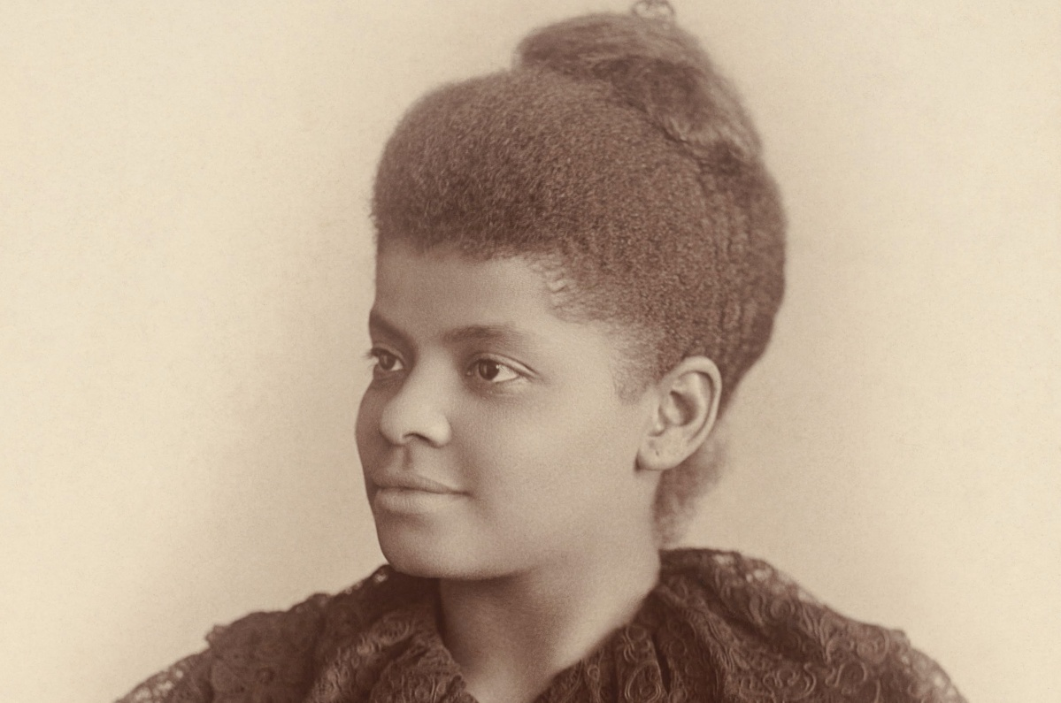 Ida B. Wells Barnett, in a photograph by Mary Garrity from c. 1893. This version has been cropped from the original photographic card to approximately the photo itself (the borders aren't quite straight, so I did the best crop I could manage with the restriction), and has also had dirt and specks removed, and the saturation very slightly tweaked.