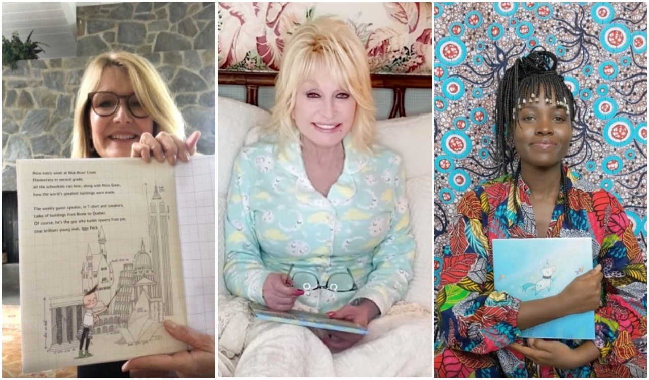 Shots of Laura Dern, Dolly Parton, and Lupita Nyong'o reading from books.