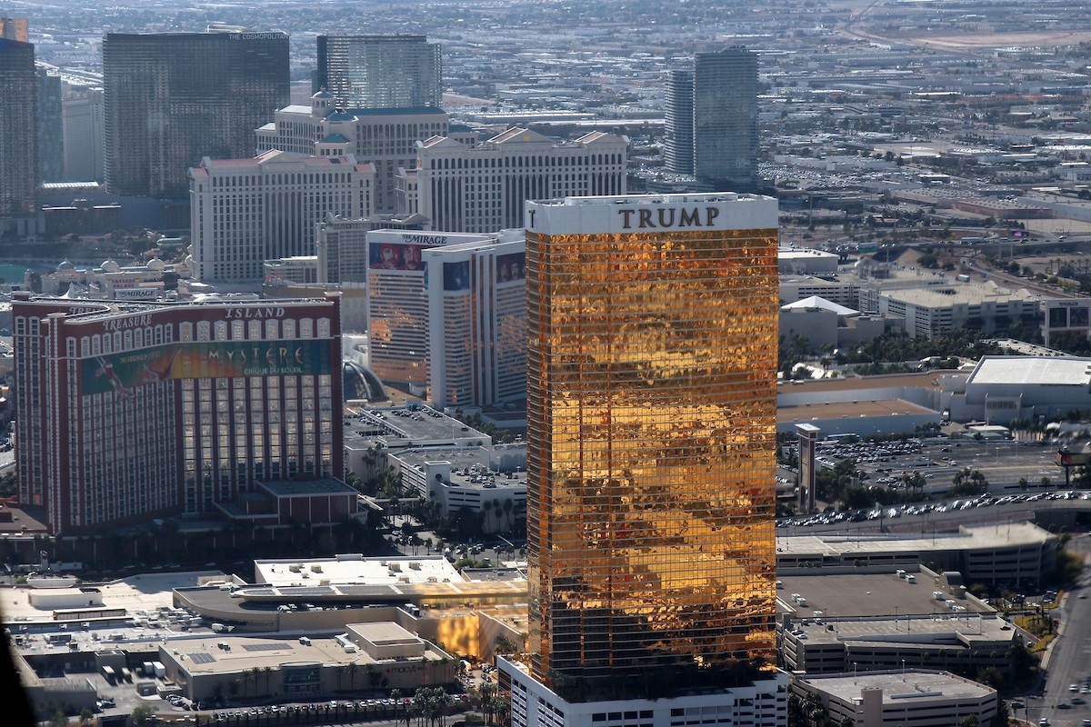 Trump hotel in Las Vegas shot from the air.
