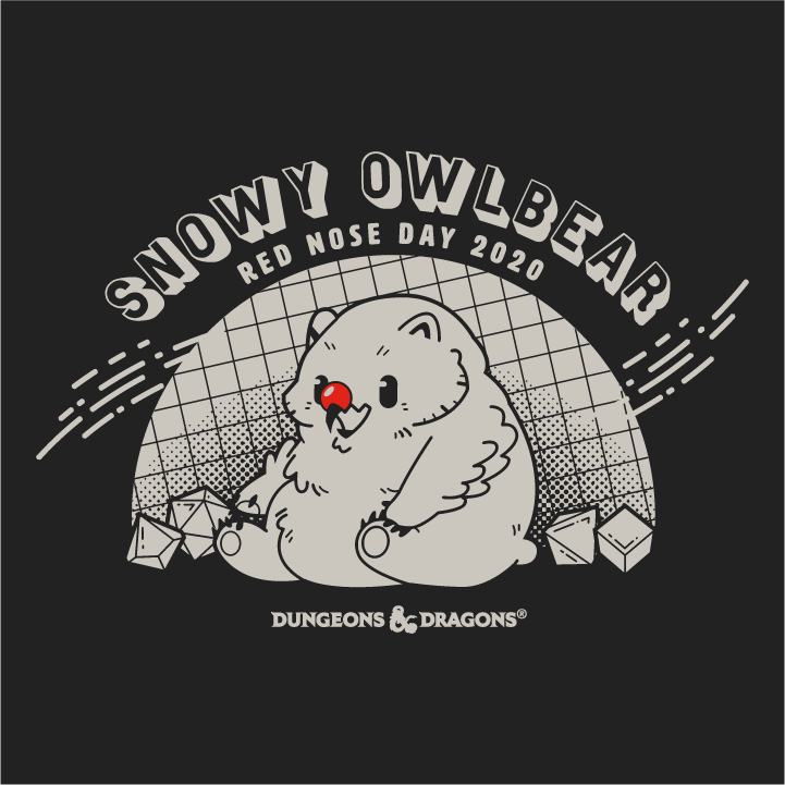 Snowy Owlbear red nose day dungeons and dragons t-shirt