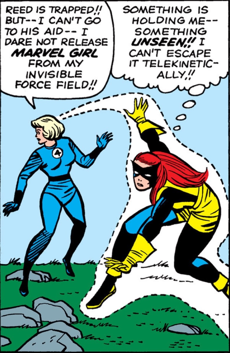 Sue Storm holding Marvel Girl in forcefield.