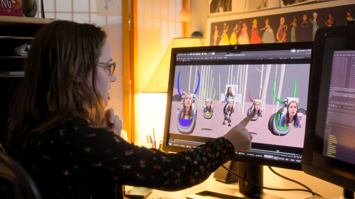 animator on frozen 2 with her face on many reindeer