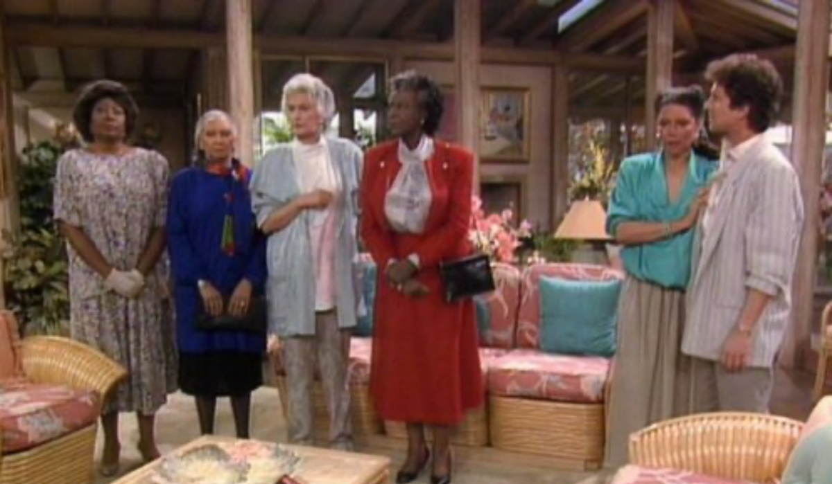 Bea Arthur, Virginia Capers, Rosalind Cash, Montrose Hagins, Lynn Hamilton, and Scott Jacoby in The Golden Girls (1985)