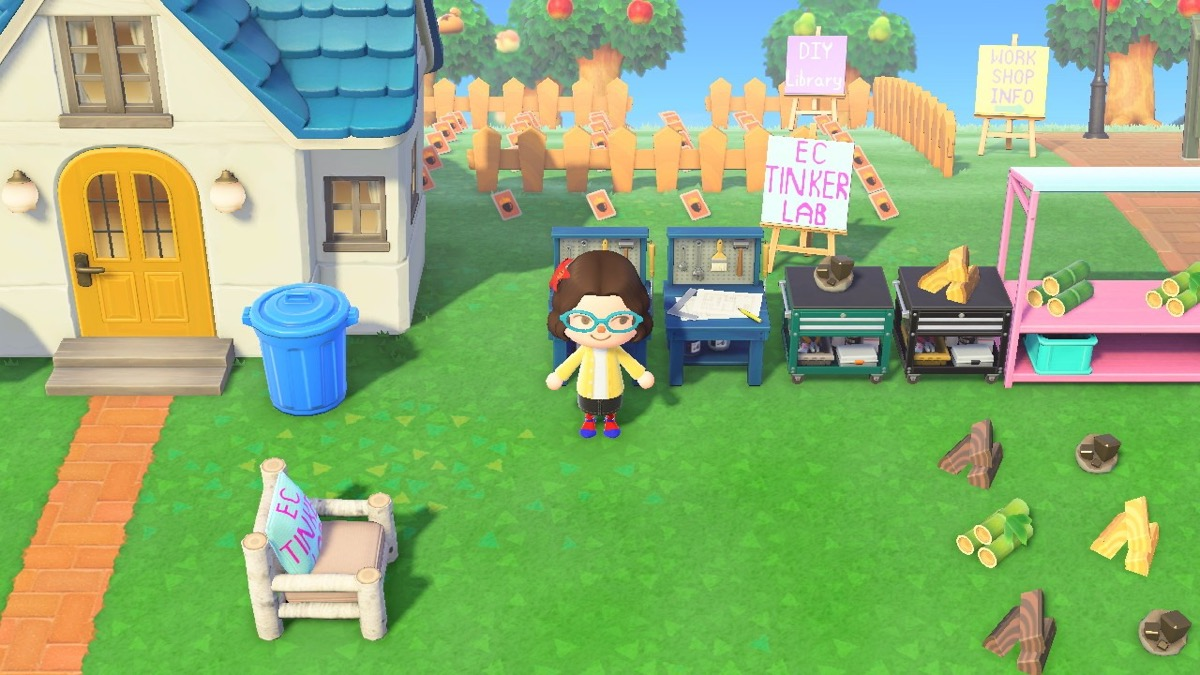 University of Pennsylvania Education Commons' TinkerLab makerspace recreated in Animal Crossing by Chava Spivak-Birndorf.