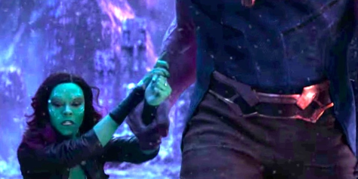 Thanos dragging Gamora to the cliff in Marvel's Avengers: Infinity War.