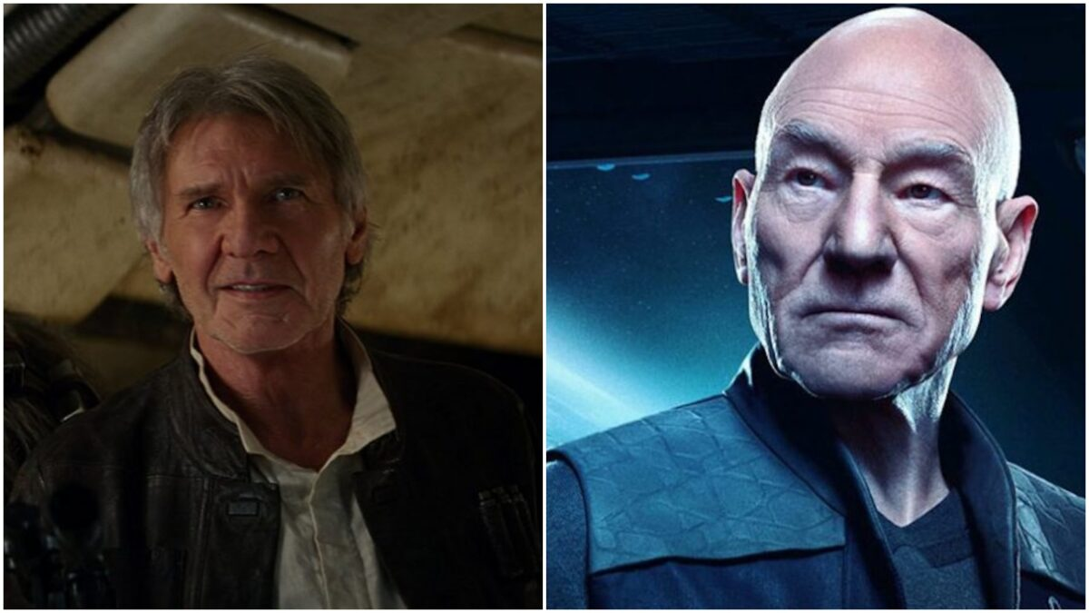 Collage: harrison ford as han solo and patrick stewart and captain picard