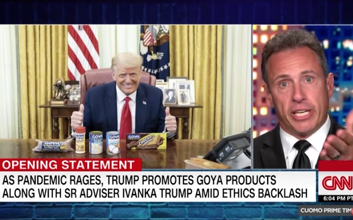 Chris Cuomo yells at a picture of Donald Trump on his CNN show.