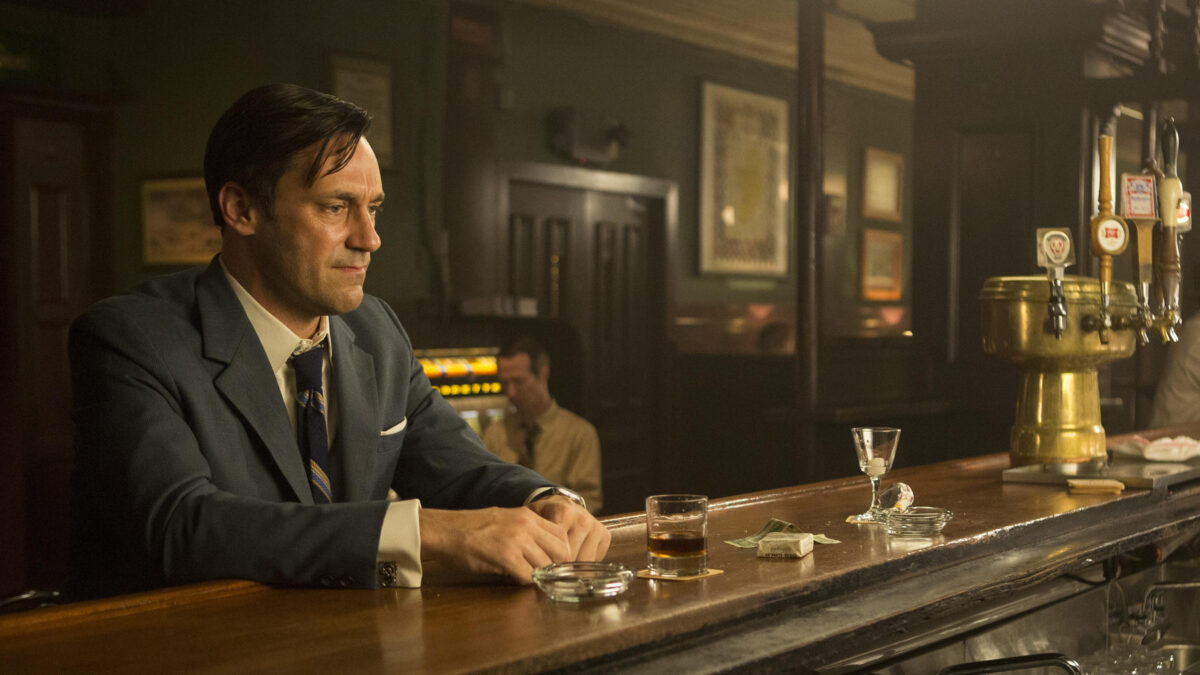 Don Draper (Jon Hamm) faces personal and professional upheaval in the final season of<em>Mad Men.</em