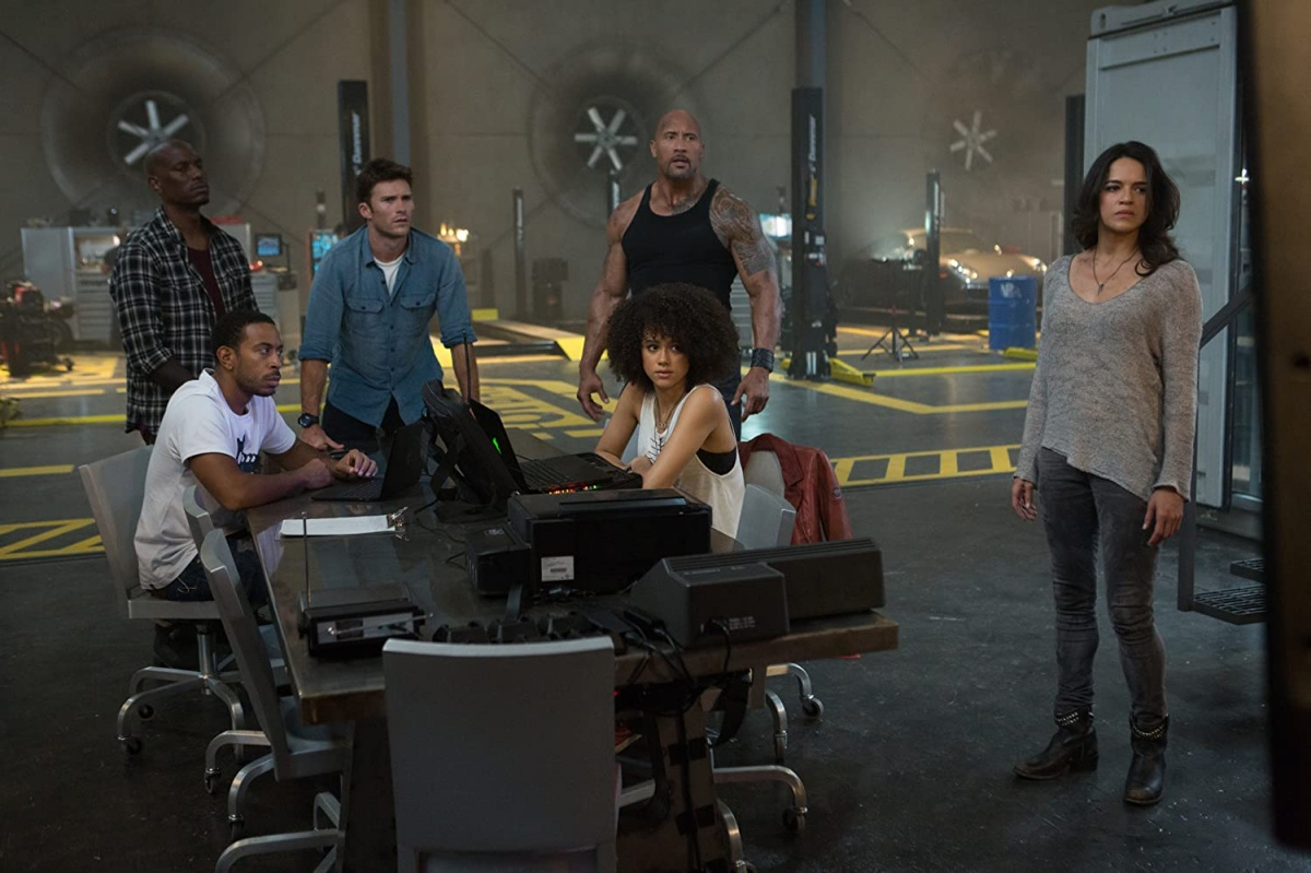 Dwayne Johnson, Ludacris, Michelle Rodriguez, Tyrese Gibson, Scott Eastwood, and Nathalie Emmanuel in The Fate of the Furious (2017)