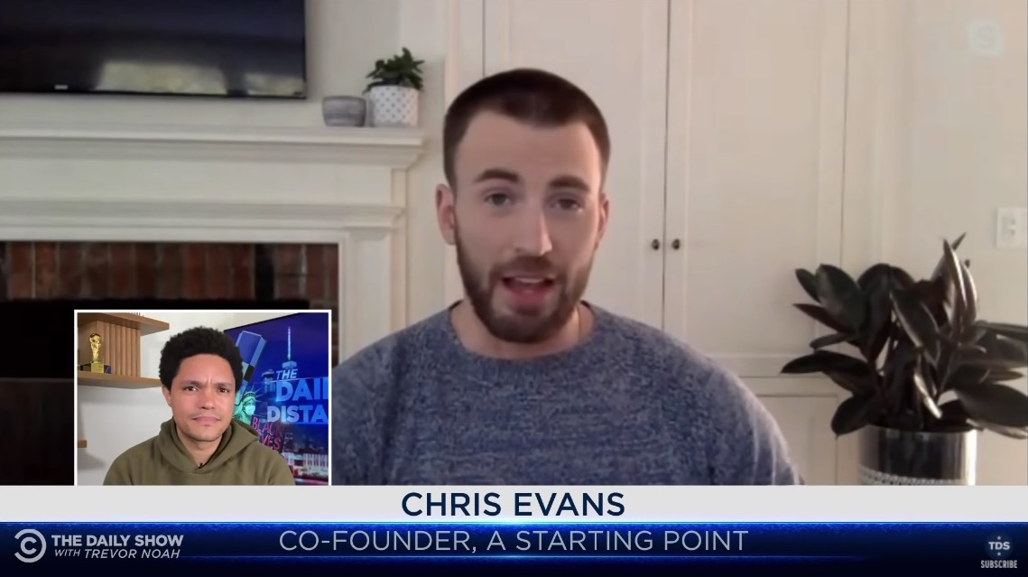 Chris Evans appears on the Daily Show over video chat.