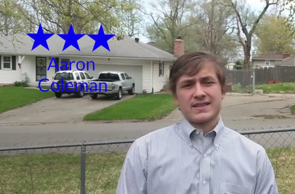 Aaron Coleman speaks in a campaign video.