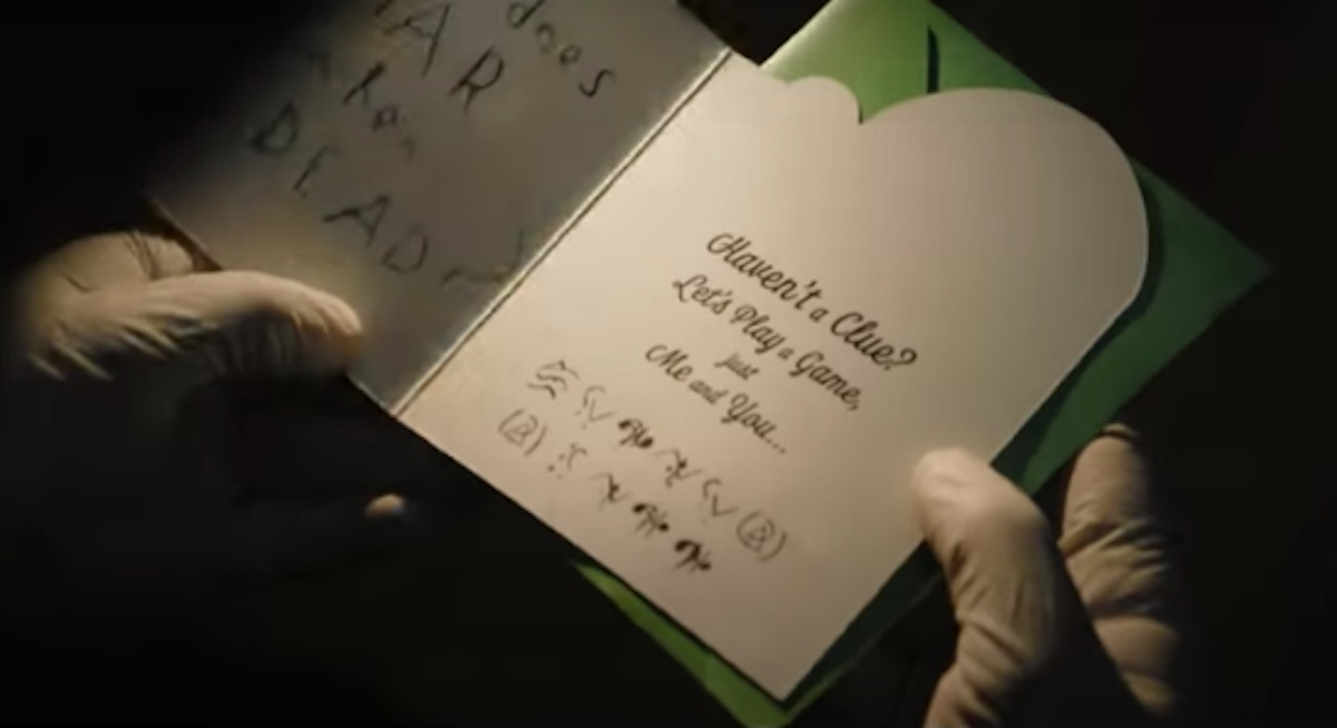 The Batman card with the Riddler's secret coded message