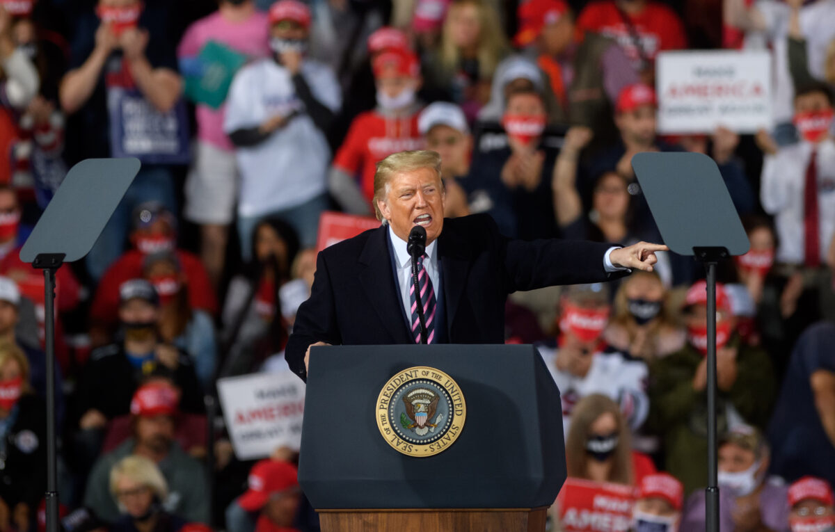 MOON TOWNSHIP, PA - SEPTEMBER 22: President Donald Trump speaks at a campaign rally at Atlantic Aviation on September 22, 2020 in Moon Township, Pennsylvania. Trump won Pennsylvania by less than a percentage point in 2016 and is currently in a tight race with Democratic nominee, former Vice President Joe Biden. (Photo by Jeff Swensen/Getty Images)