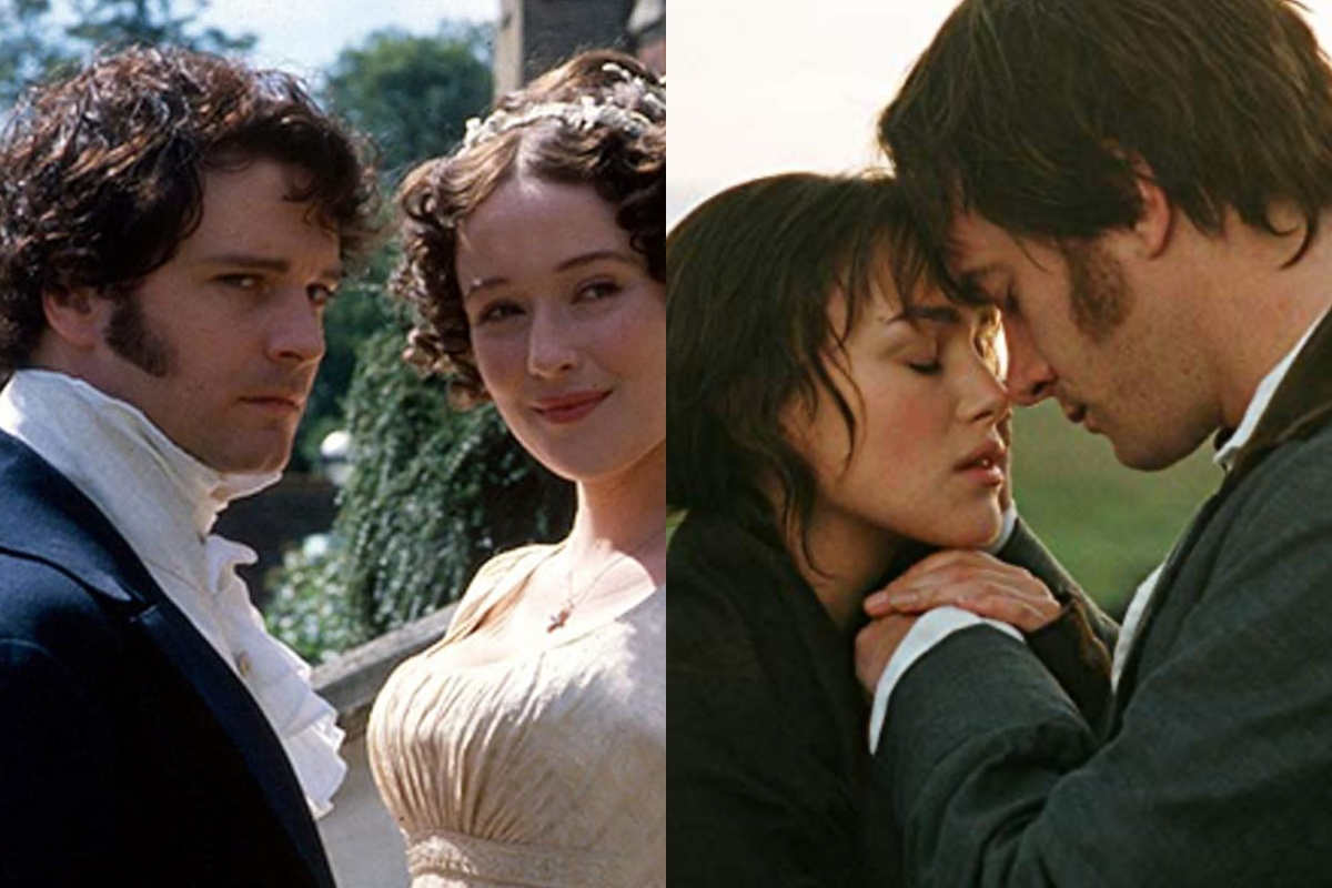 Colin Firth and Jennifer Ehle in Pride and Prejudice (1995)//Keira Knightley and Matthew Macfadyen in Pride & Prejudice (2005)