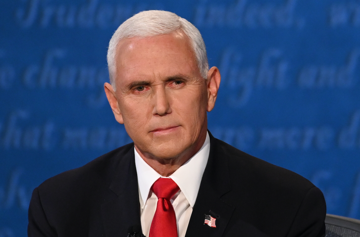 Mike Pence looks on during the vice presidential debate