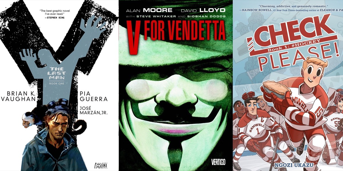 Graphic novel covers for Y: The Last Man, V for Vendatta, and Check Please!