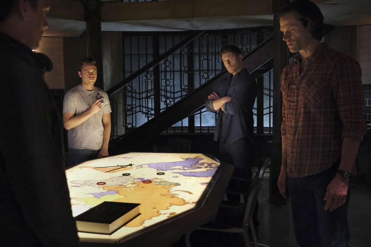 """Supernatural -- """"Inherit the Earth"""" -- Image Number: SN1519a_0363r.jpg -- Pictured (L-R): Jake Abel as Michael, Alexander Calvert as Jack, Jensen Ackles as Dean and Jared Padalecki as Sam -- Photo: Bettina Strauss/The CW -- © 2020 The CW Network, LLC. All Rights Reserved."""