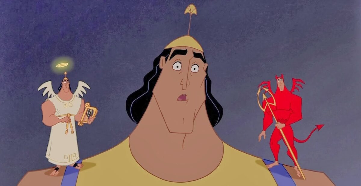 kronk with an angel and a devil in the emperor's new groove