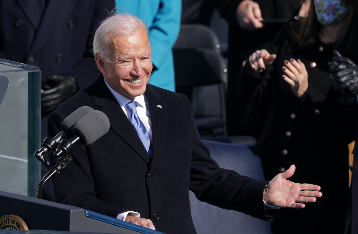 U.S. President Joe Biden delivers his inaugural address on the West Front of the U.S. Capitol