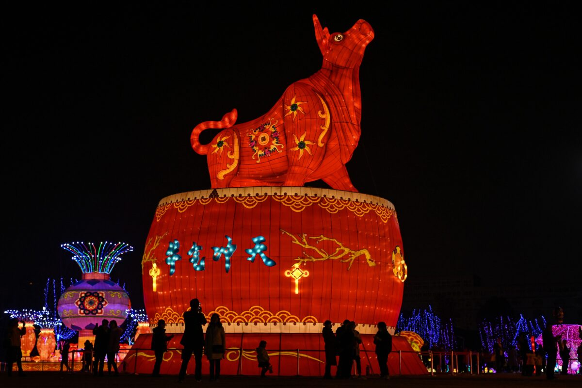 TOPSHOT - People look at a giant ox lantern in a park in Wuhan in China's central Hubei province on February 11, 2021, ahead of the start of the Lunar New Year, which ushers in the Year of the Ox on February 12. (Photo by Hector RETAMAL / AFP) (Photo by HECTOR RETAMAL/AFP via Getty Images)