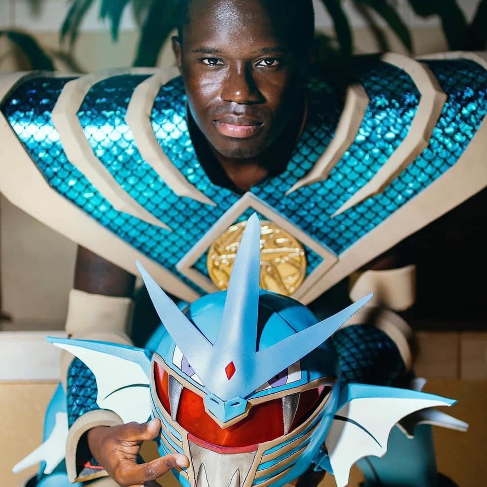 Image of Mark Wesley Pritchard (Texxx-Man Cosplay) doing his MMPR/Pokemon mash up