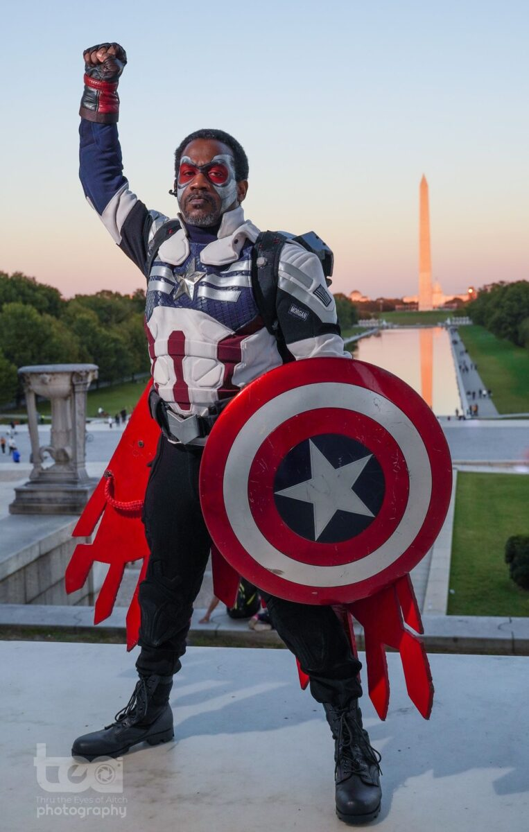 Corey Morgan cosplaying Sam Wilson Captain American