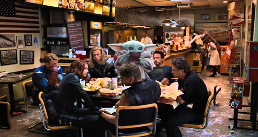 grogu eating with the avengers