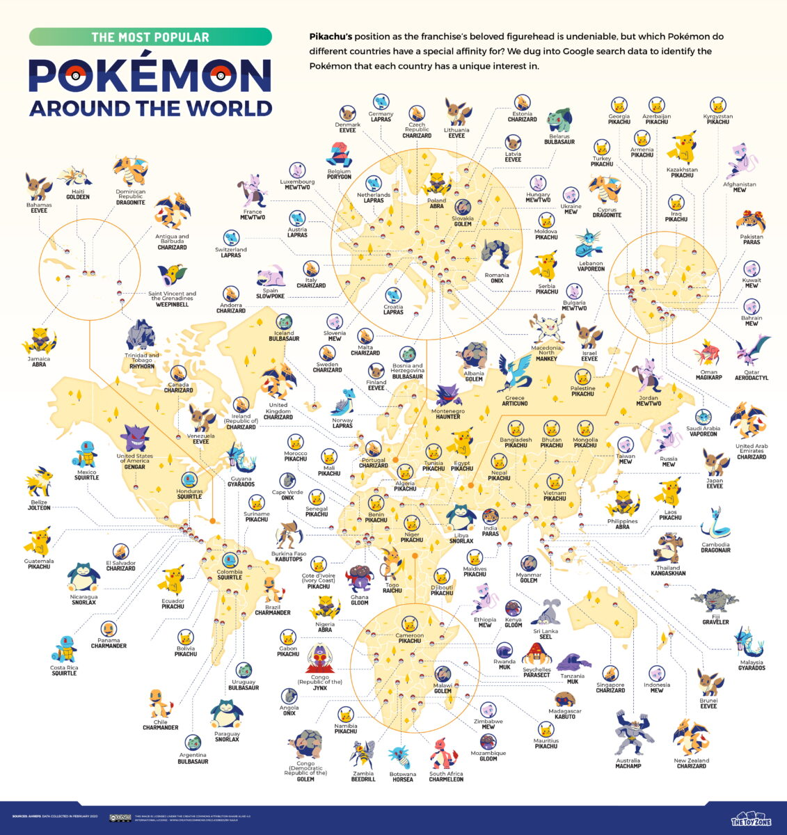 Map of the world and popular Pokemon