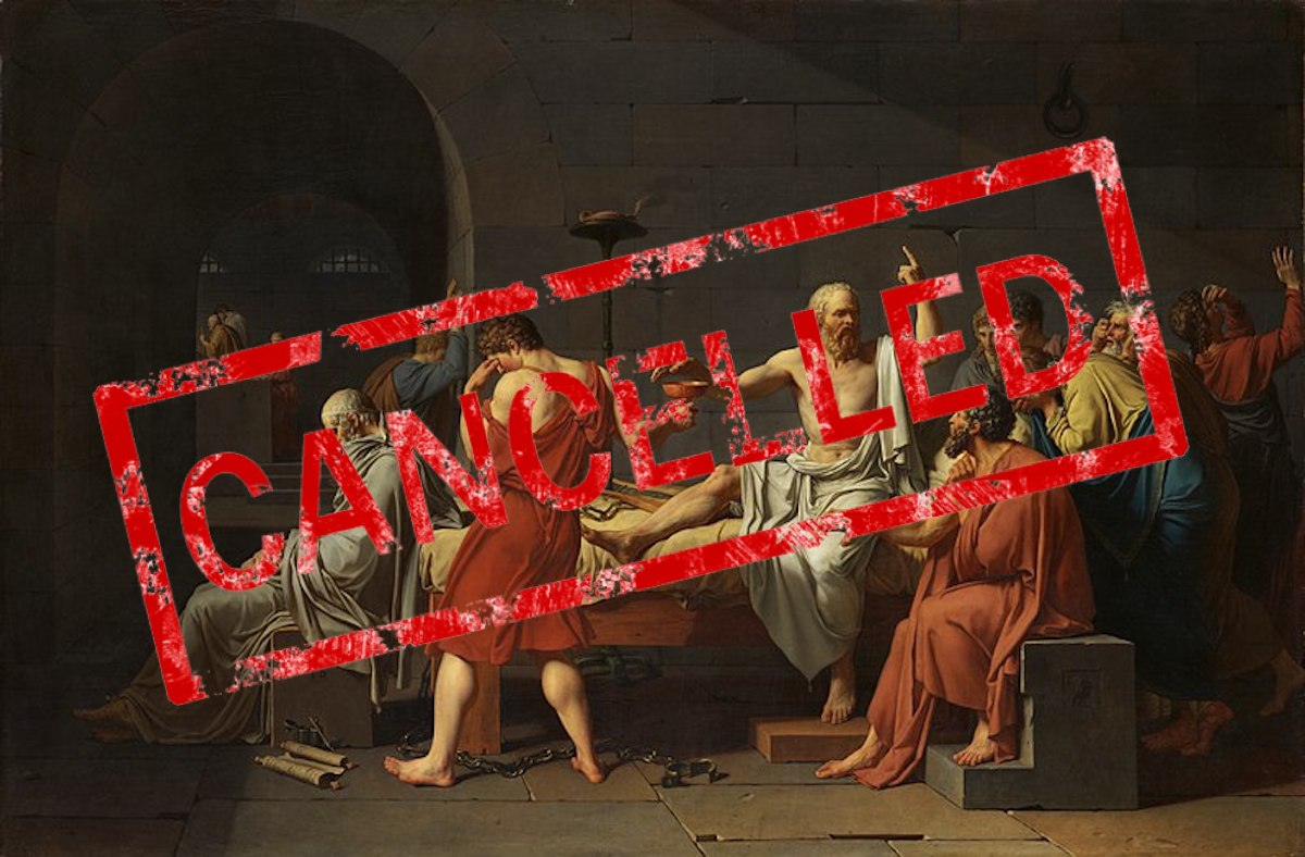 """The painting """"The Death of Socrates"""" with a stamp reading """"cancelled"""" superimposed on it"""