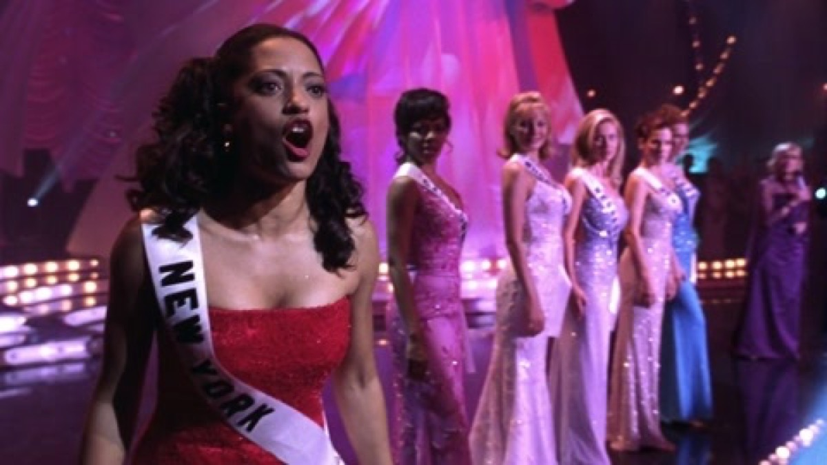 Karen shouting on stage in Miss Congeniality.