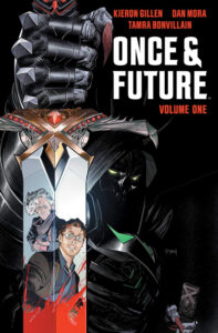 """""""Once & Future"""" by Kieron Gillen and Tamra Bonvillain with illustrations by Dan Mora. Image of older woman and younger man reflecting in a sword held by a dark figure."""