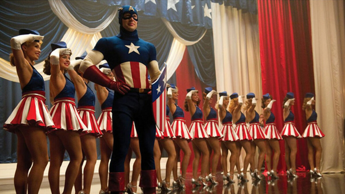 Chris Evans as Steve Rogers in the Captain America stage show in 'Captain America: The First Avenger'