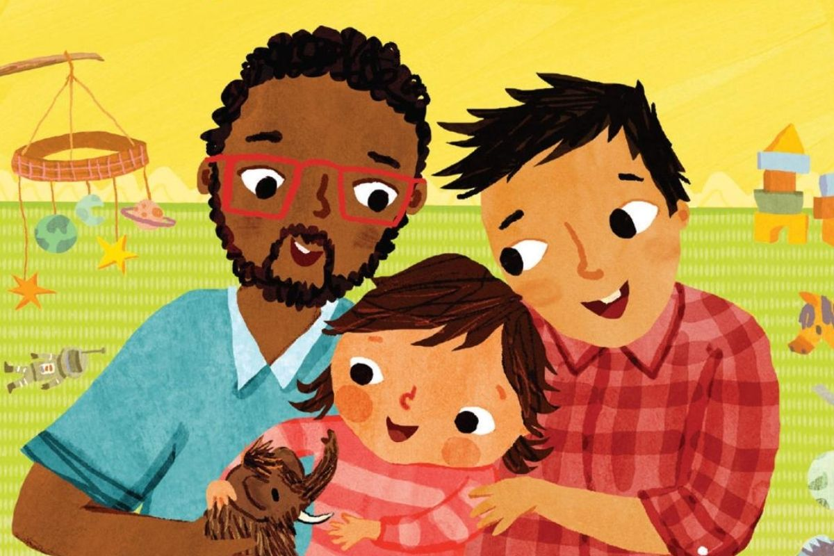 Two parents with their child. (Image: Barefoot Books and Christiane Engel.)