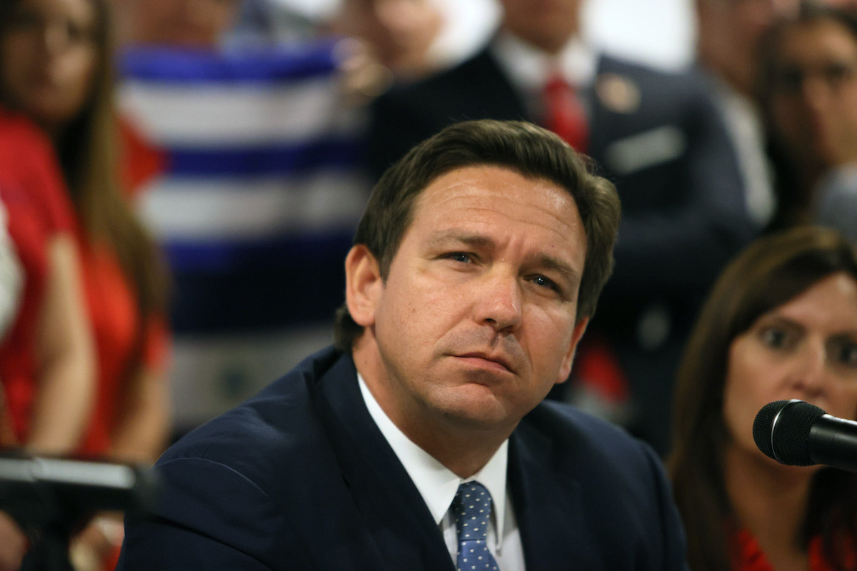 Florida Gov. Ron DeSantis looks like he's thinking very hard and it's hard for him.
