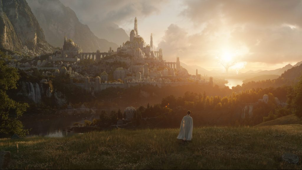 An image of the gorgeous fantasy landscape of Amazon Studios' Lord of the Rings series