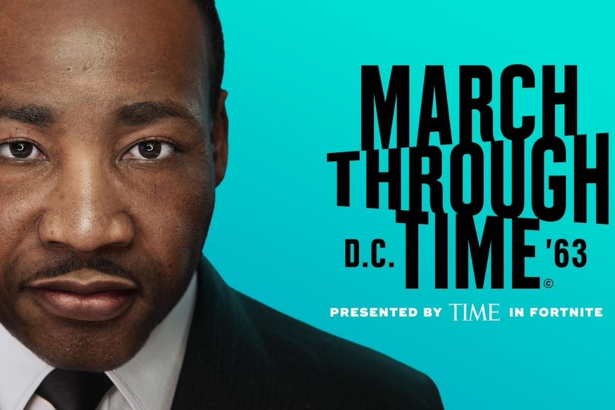 """MLK Jr. next to the text """"March Through Time."""" (Image: Time Magazine and Epic Games.)"""