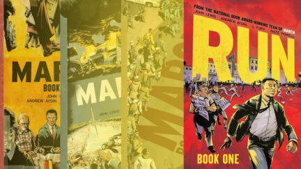 Book covers of March Series behind the latest graphic novel
